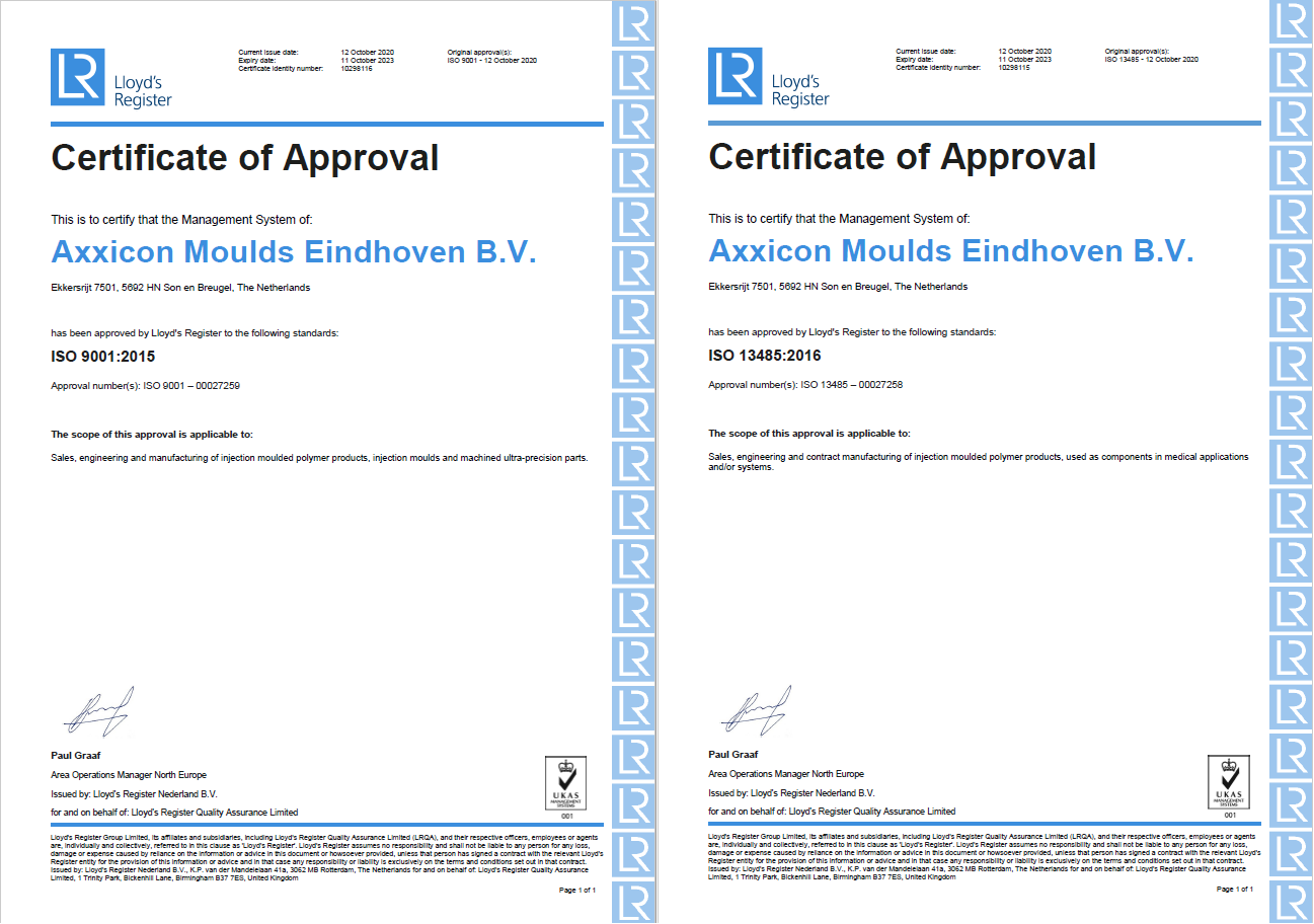 ISO 9001 and ISO 13485 certifications for Axxicon